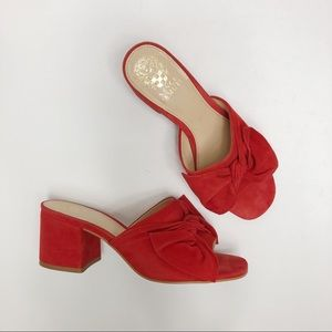 Vince Camuto Sharrey Red Suede Slide Sandals Bow